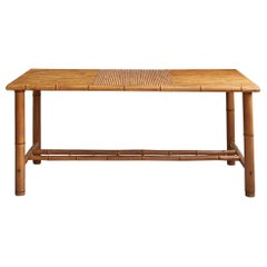 Vintage Rectangular Table in Bamboo with Brass Details, France, 1960's