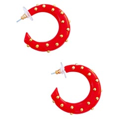 Vintage Red Acrylic Gold Studded Chunky Hoop Earrings By Kenneth Jay Lane, 1970s