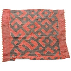 Vintage Red and Black African Woven Applique Raffia Kuba Fragment