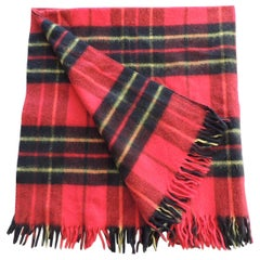 Vintage Red and Black Plaid Woolen Decorative Throw with Fringes