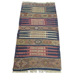 Vintage Red and Blue Kilim Rug
