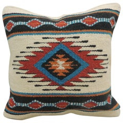 Vintage Red and Blue Navajo Style Woven Decorative Square Pillow