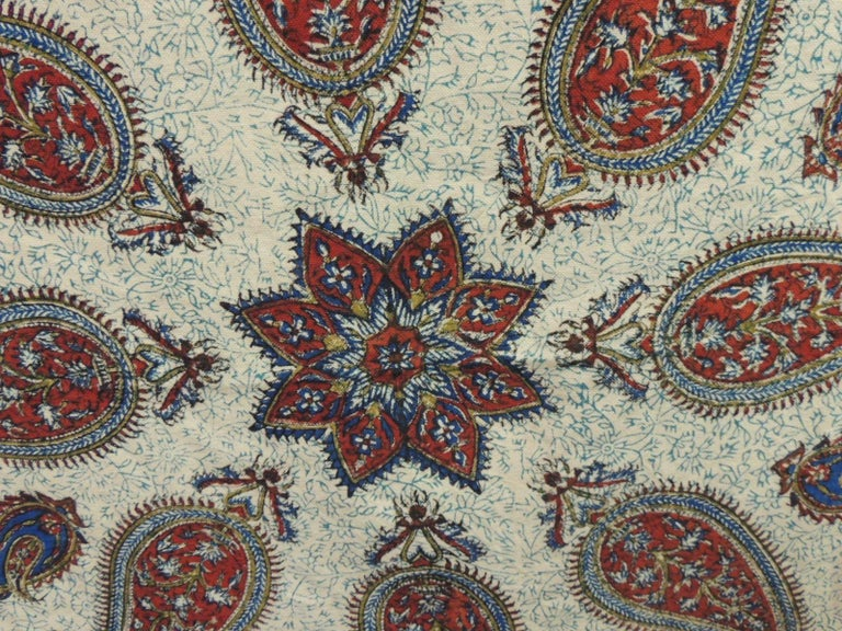 Armenian Vintage Red and Blue Paisley Hand-Blocked Cloth with Fringes For Sale