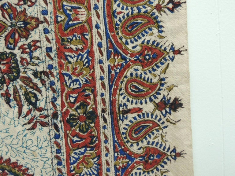 Hand-Crafted Vintage Red and Blue Paisley Hand-Blocked Cloth with Fringes For Sale