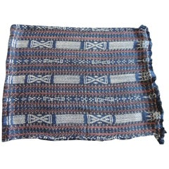 Vintage Red and Blue Woven Ikat Textile