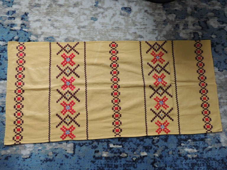 Bohemian Vintage Red and Brown on Yellow Embroidered Textile For Sale