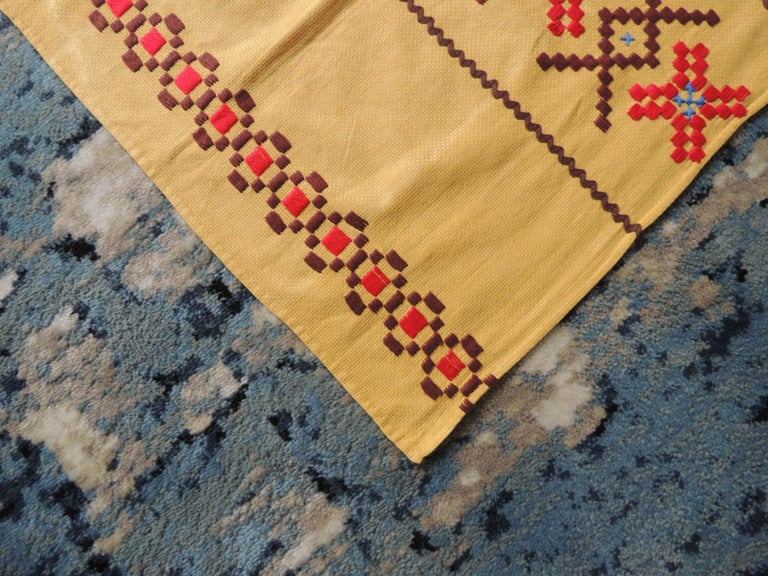 Swedish Vintage Red and Brown on Yellow Embroidered Textile For Sale