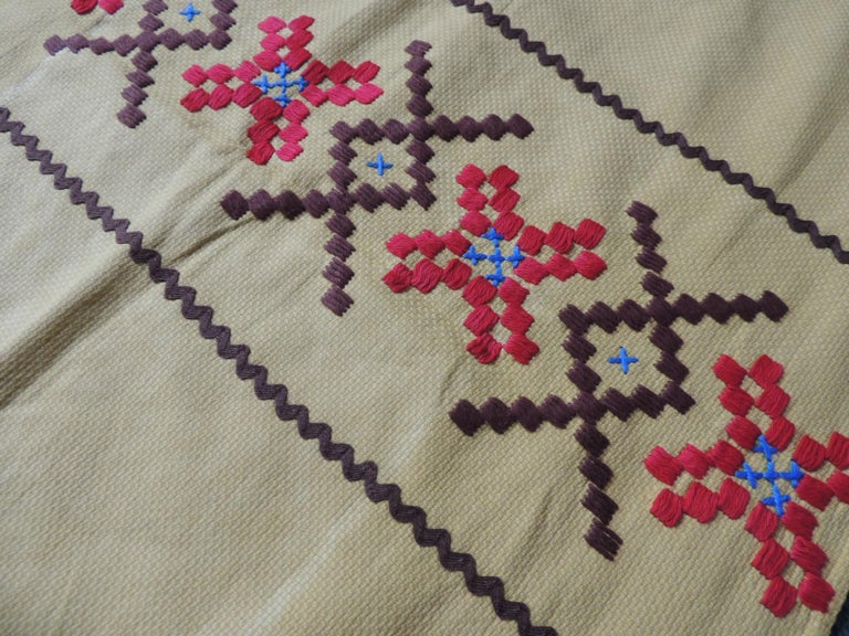 Hand-Crafted Vintage Red and Brown on Yellow Embroidered Textile For Sale