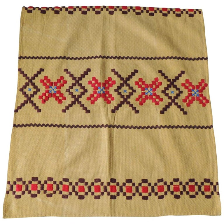 Vintage Red and Brown on Yellow Embroidered Textile For Sale