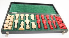 Vintage Red and Cream Bakelite Chess Pieces Set