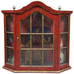 Vintage Red and Gold Distressed Wall Hanging Curio Cabinet Display Case Acorn