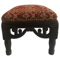 Vintage Red and Gold Square Upholstered Footstool