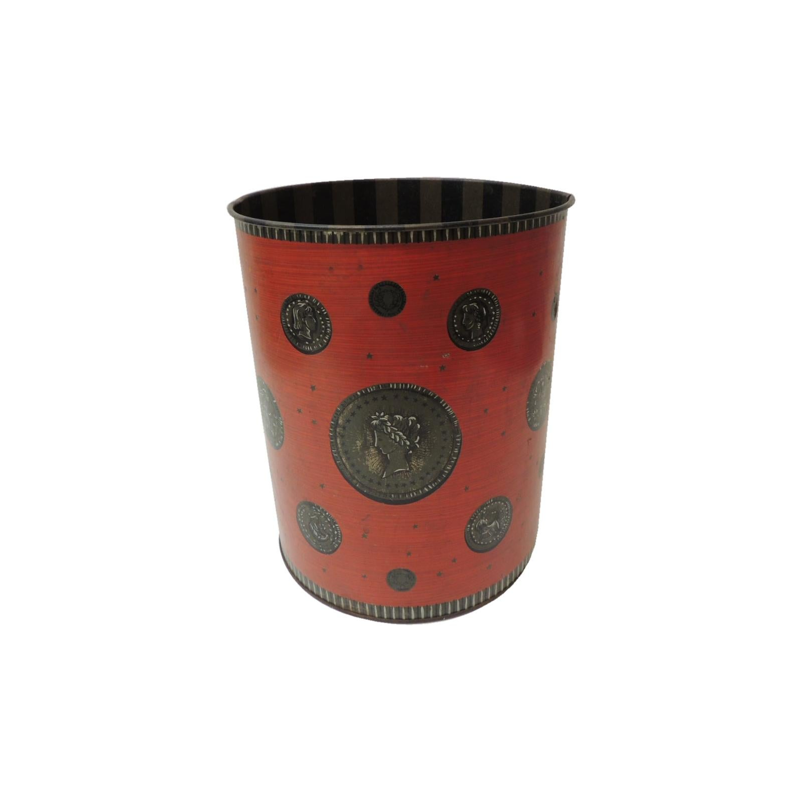 Vintage Red and Gray Cameo Style Wastebasket