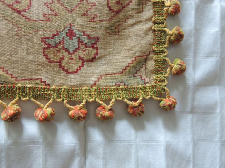 Vintage Red and Green Kilim Style Table Topper Textile In Good Condition For Sale In Wilton Manors, FL
