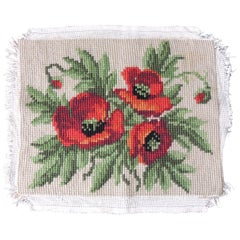 Vintage Red and Green Poppies Woven Tapestry