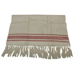 Vintage Red and Natural Woven Turkish Silk Damask Style Towel