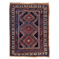 Vintage Red and Navy Blue Tribal Geometric Persian Afshar Rug, circa 1920s