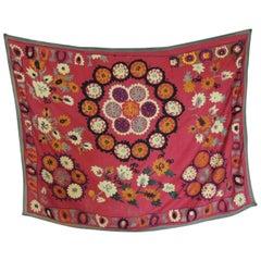 Vintage Red and Orange Uzbekistan Embroidery Suzani Textile Panel
