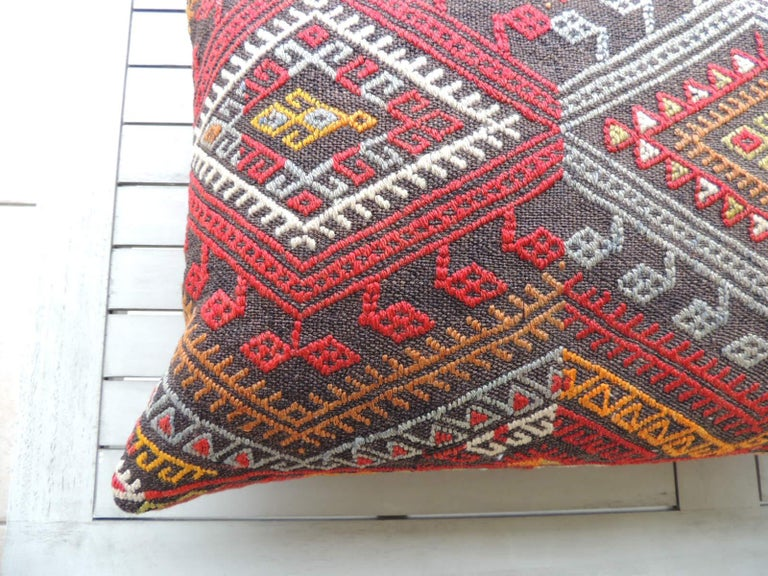 Moroccan Vintage Red and Orange Woven Kilim Bolster Decorative Pillow For Sale