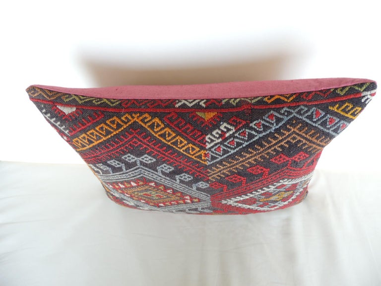 Hand-Crafted Vintage Red and Orange Woven Kilim Bolster Decorative Pillow For Sale