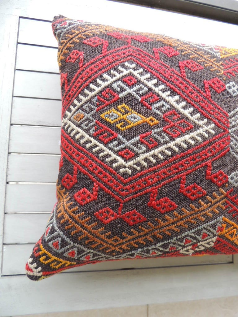 Vintage Red and Orange Woven Kilim Bolster Decorative Pillow In Good Condition For Sale In Wilton Manors, FL