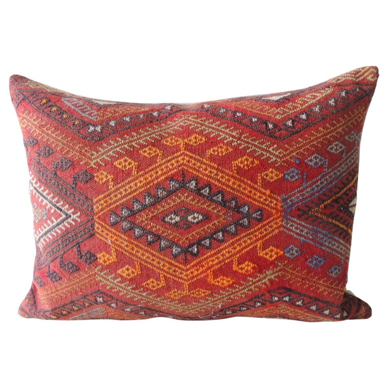 Vintage Red and Orange Woven Kilim Bolster Decorative Pillow For Sale