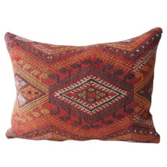 Vintage Red and Orange Woven Kilim Bolster Decorative Pillow