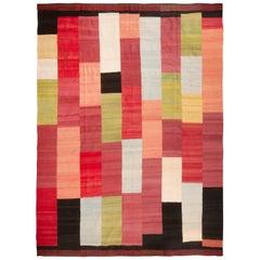 Vintage Red and Pink Geometric Wool Kilim Rug
