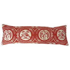 Vintage Red and White Bird Hand Block Printed Folly Cove Designers Pillow