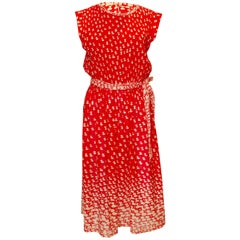 Vintage Red and White Pleated and Print Cocktail Dress