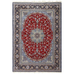 Vintage Red Background Isfahan Persian Rug. Size: 10 ft 1 in x 14 ft 2 in