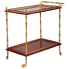Vintage Red Bar Cart by Aldo Tura