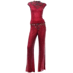 Vintage Red Beaded Silk 2 pc Evening Dress Alternative Pants and Top Outfit