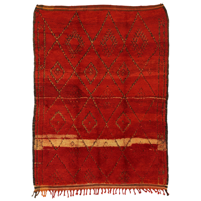 Vintage Red Beni M'Guild Carpet, Berber Moroccan Rug with Modern Tribal Style