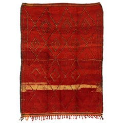 Vintage Red Beni M'Guild Carpet, Berber Moroccan Rug with Modern Tribal Style