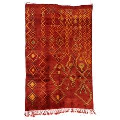 Vintage Red Beni Mrirt Carpet, Berber Moroccan Rug