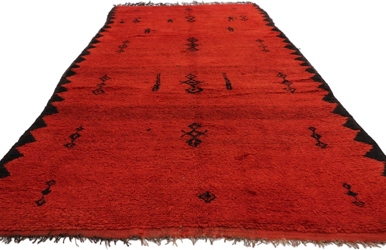 Hand-Knotted Vintage Red Beni Mrirt Carpet, Berber Moroccan Rug with Modern Tribal Style For Sale