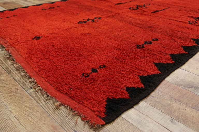 Wool Vintage Red Beni Mrirt Carpet, Berber Moroccan Rug with Modern Tribal Style For Sale