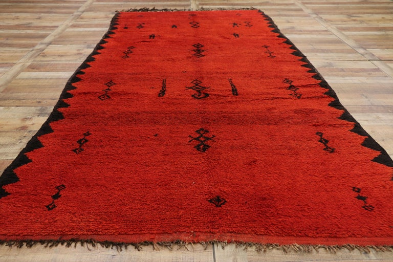 Vintage Red Beni Mrirt Carpet, Berber Moroccan Rug with Modern Tribal Style For Sale 1