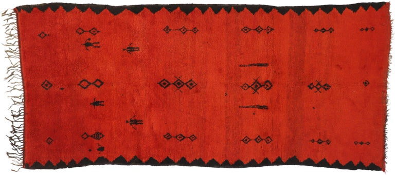 Vintage Red Beni Mrirt Carpet, Berber Moroccan Rug with Modern Tribal Style For Sale 3