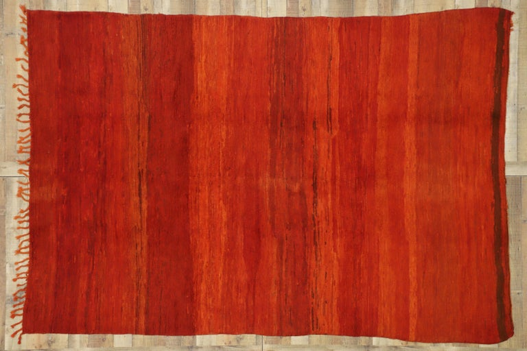 Vintage Red Beni Mrirt Moroccan Rug with Modern Style Inspired by Mark Rothko For Sale 1