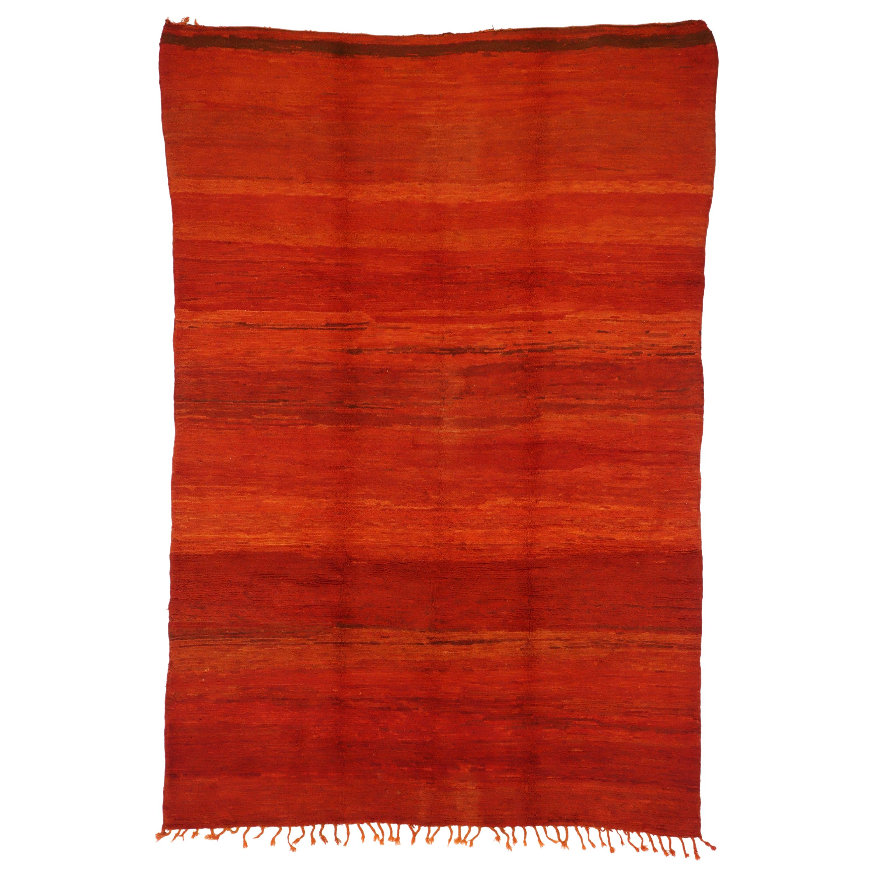 Vintage Red Beni Mrirt Moroccan Rug with Modern Style Inspired by Mark Rothko