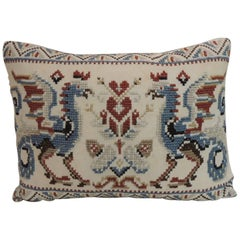 Vintage Red & Blue Needlework Tapestry Bolster Decorative Pillow