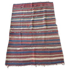 Vintage Red, Blue, White Stripe Woven Kilim Area Rug