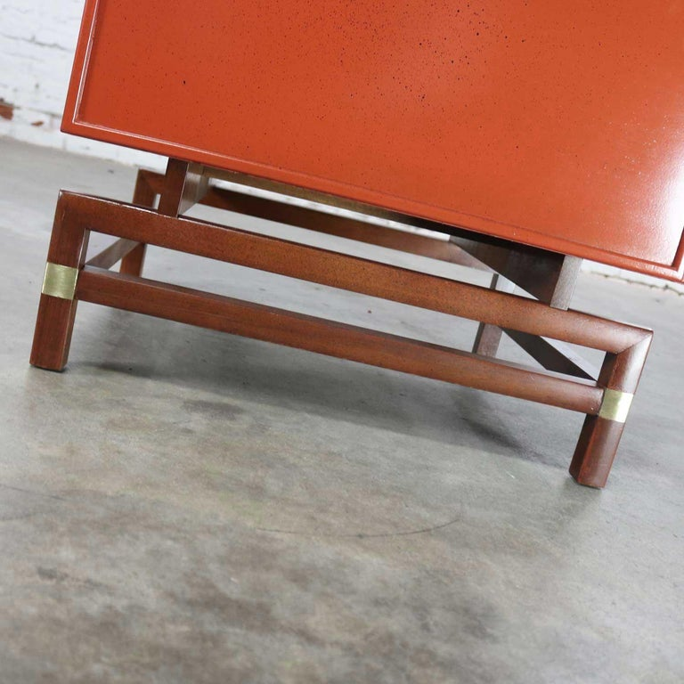 Vintage Red Campaign Style End Table Drawers And Door And Brass