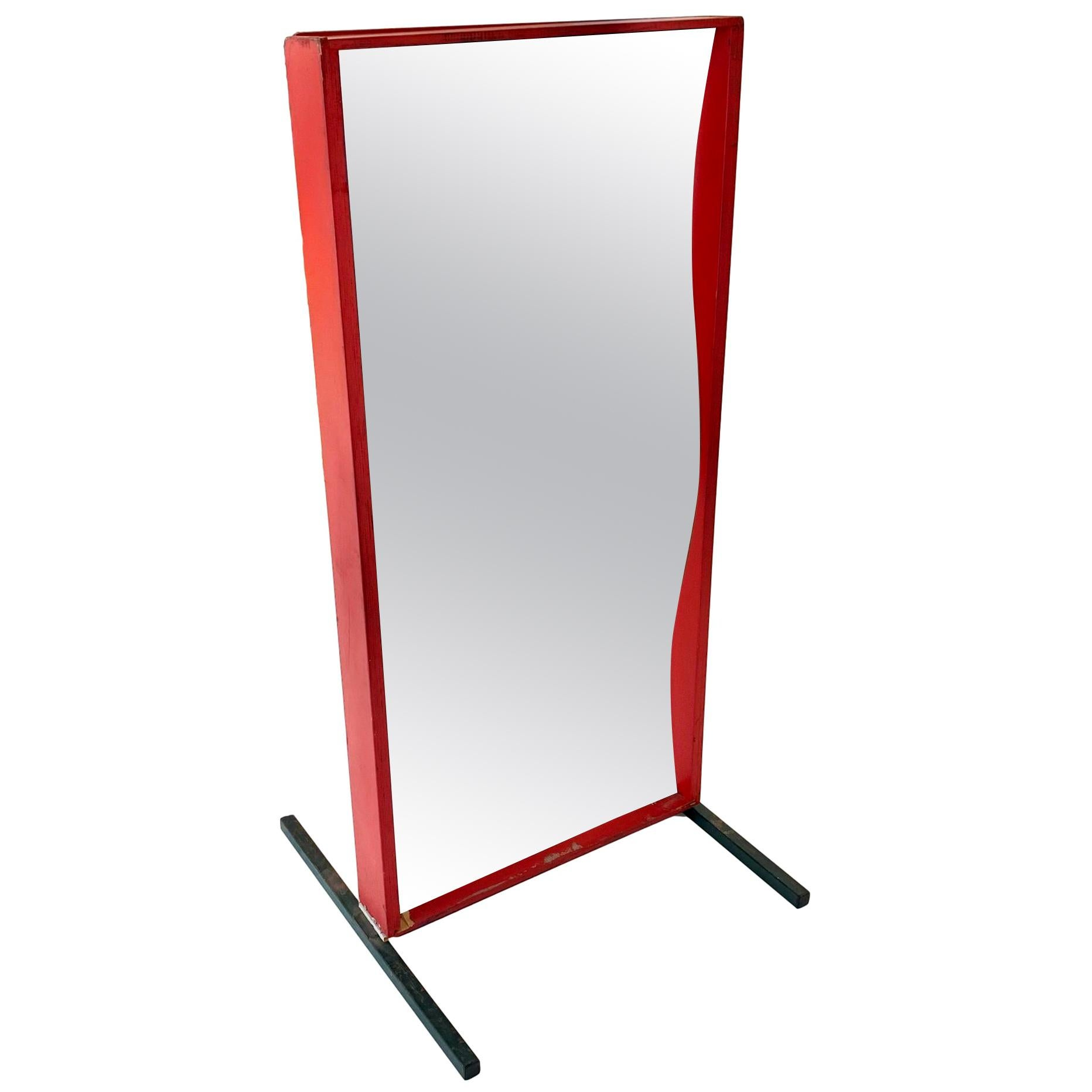 Vintage Red Carnival Fun-House Mirror