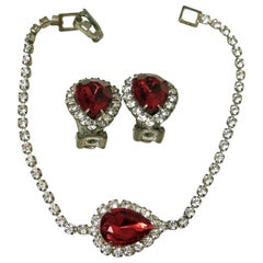 Vintage Red & Clear Crystals Bracelet & Earrings