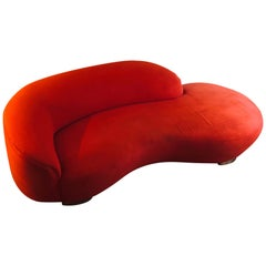 Vintage Red Cloud Sofa Attributed to Vladimir Kagan for Weiman