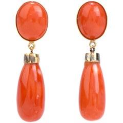Vintage Red Coral 18 Karat Gold Drop Dangle Earrings