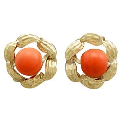 Vintage Red Coral and Yellow Gold Stud Earrings